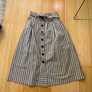 Topshop striped paper bag midi skirt size 4